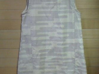 展示  白大島紬  シンプルOP 着物リメイクの画像