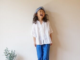 French Linen blouse kids 90,100sizeの画像