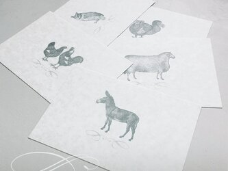 のどかな森の動物達 ポストカード セットの画像