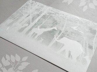 「白い森の動物達」ポストカードの画像