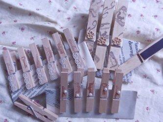 木製コラージュクリップ(ナチュラルアンティーク)  セットの画像