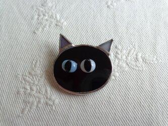 ネコブローチ(黒)の画像