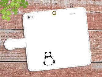 【送料無料】手帳型スマホケース パンダのせなかの画像