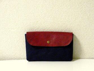 帆布×本革ポーチ navy&redの画像