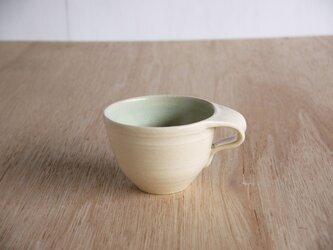 浅葱釉の掛け分けティーカップの画像
