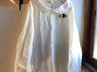 リネン100丸襟プルオーバートップスオフ ホワイト 長袖の画像