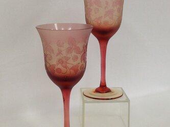 ワイルドストロベリーワイングラス(ペア)の画像