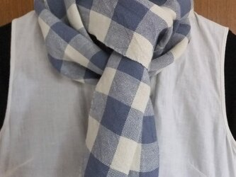 リネンの手織りマフラー チェック3の画像