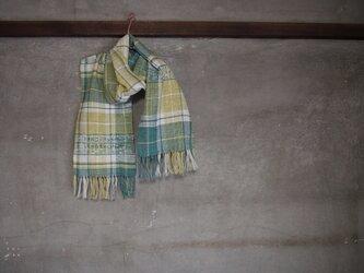 手織り/cotton muffler  3織チェックデ透かし (+orimi)の画像