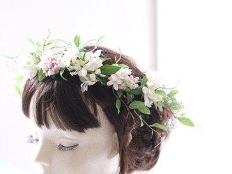 ライラックとグリーンのナチュラル花冠  ヘア飾りの画像