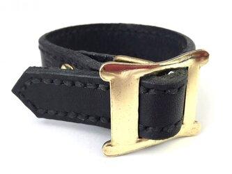 【SALE】イギリス製バックルブレスレット ゴールド ブラックの画像