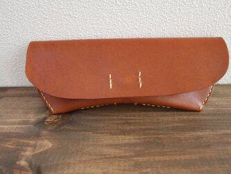 栃木レザー 手縫いのメガネケース(ブラウン)の画像
