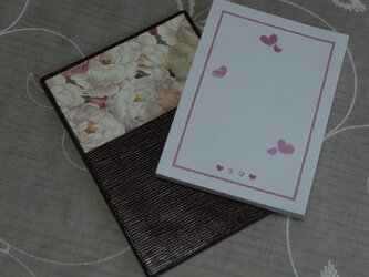 ★お名前入り★ 台付きmy メモ帳 ワインレッド色 【三色のバラ】 の画像