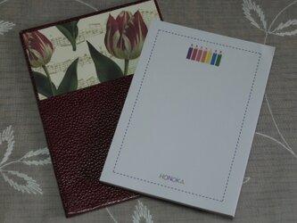 ★お名前入り★ 台付きmy メモ帳 赤色(チューリップ) の画像