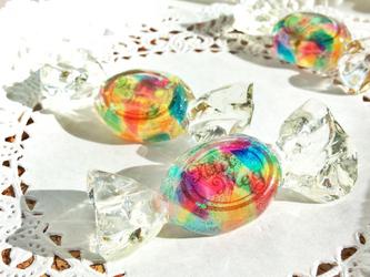 【受注生産】虹の欠片のキャンディブローチ・2(セピアロゴ)の画像