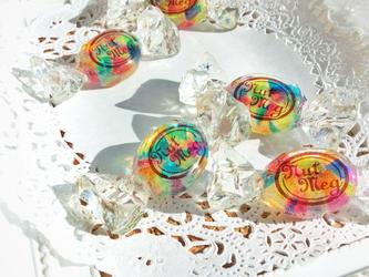 【受注生産】虹の欠片のキャンディブローチ・2(ブラウンロゴ)の画像