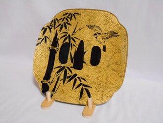 #飾り皿 #ガラス皿 #刀鍔 #竹に雀 #純金箔の画像
