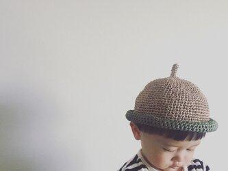 【受注製作】麻100%麦わら風どんぐり帽子の画像