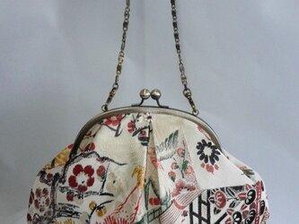 アンティーク袋帯地 ・吉祥扇面文柄・はまぐり形・がま口バッグの画像