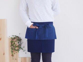 オリジナルカフェエプロン 藍染濃紺×藍縞の画像