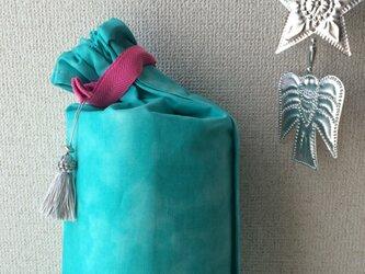 ダイダイ柄ヨガマットケース ターコイズブルーMサイズの画像