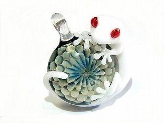守宮(ヤモリさん) 【kengtaro/ケンタロー】白いヤモリとオパール ボロシリケイトガラスの画像