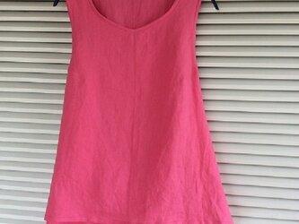 値下げ~綺麗なピンクのリネンのエプロンシャツの画像