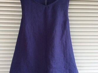 受注製作:綺麗なブルーのリネンのエプロンシャツの画像
