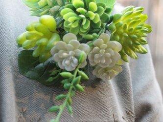 アートフラワー☆多肉植物グリーンコサージュの画像
