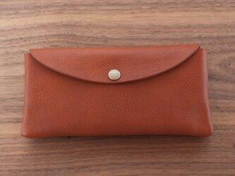 イタリア製牛革の大きめ長財布  /  ライトブラウン※受注製作の画像