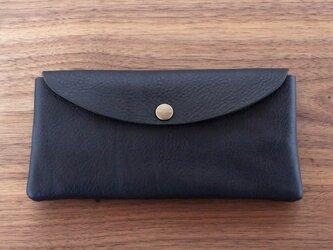 イタリア製牛革の大きめ長財布  /  ネイビー※受注製作の画像