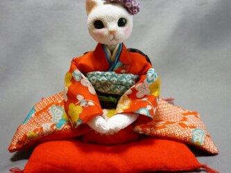 k様オーダー品 振袖猫さん姉妹の妹猫さん 座布団つきの画像