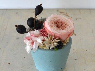【ショコラピンク】ローズてまり アジサイ ブラックベリー プリザーブドフラワーアレンジ 花ギフト お祝い 敬老の日の画像