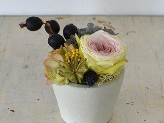 【ノーブルライラック】ローズてまり アジサイ ブラックベリー プリザーブドフラワーアレンジ 花ギフト お祝い 敬老の日の画像