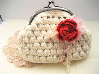 玉編みのがま口ポーチの画像