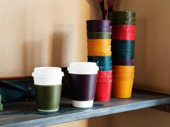 上質なイタリア革リスシオで製作したカップスリーブ、トールサイズ(コンビニラージサイズ)カラーも6種類の画像