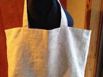 受注制作▫︎リバーシブル手染めハーフリネンとリネンのトートバッグの画像