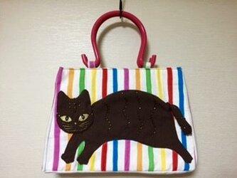 猫アップリケトートバッグの画像