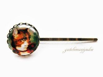 茶シロ猫のアンティーク風ヘアピンの画像
