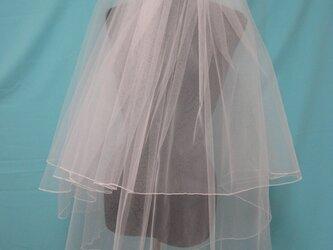 ウェディング 280cm巾 ショートベール オフホワイトカラー ロック縁の画像