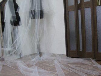 丈403cm 巾280cm ロック縁 ブライダル オフホワイトカラー                  ロングベールの画像