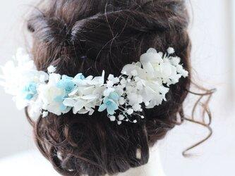 サムシングブルーとホワイト紫陽花 かすみ草 プリザーブドフラワーヘア飾りの画像