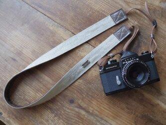 ■nori. カメラストラップ リネン+帆布 (ナチュラル+ブラウン)の画像