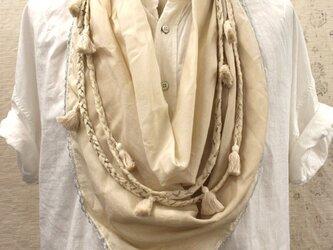 40%オフ★チェーン三つ編みタッセルスカーフ916014の画像