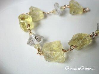 ハーキマーダイヤとレモンクォーツのブレスレット【sugar candy】の画像