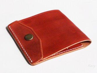 薄型シンプル札ばさみ MC-03 マネークリップ ヌメ革赤茶の画像