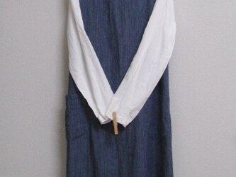 リネンの春夏ジャンパースカート 紺の画像