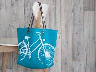 バイオウォッシュ帆布トートバッグ、自転車、ターコイズの画像
