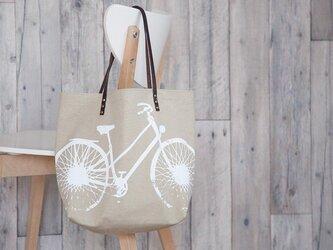 バイオウォッシュ帆布トートバッグ、自転車、サンドベージュの画像