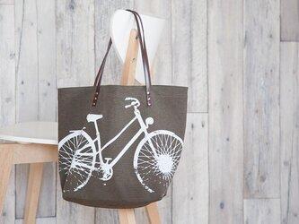 バイオウォッシュ帆布トートバッグ、自転車、ショコラの画像